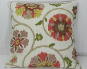 Floral Watercolor Pillow Cover, Red, Green, Gray, Brown,  Screen Print, Linen Like Slub P Kaufman Home Dec Fabric, soil and stain repellent