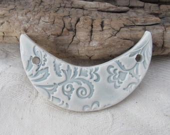 Blue Grey Ceramic Crescent Bib Pendant