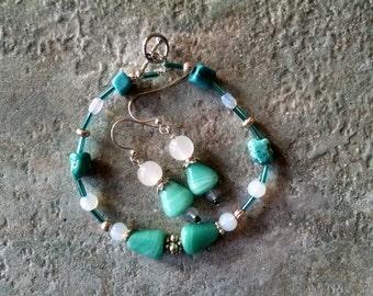 Turquoise bracelet earring set, Silver turquoise white sea opal bracelet earring set