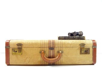 Vintage Tweed Striped Suitcase / Vintage Luggage
