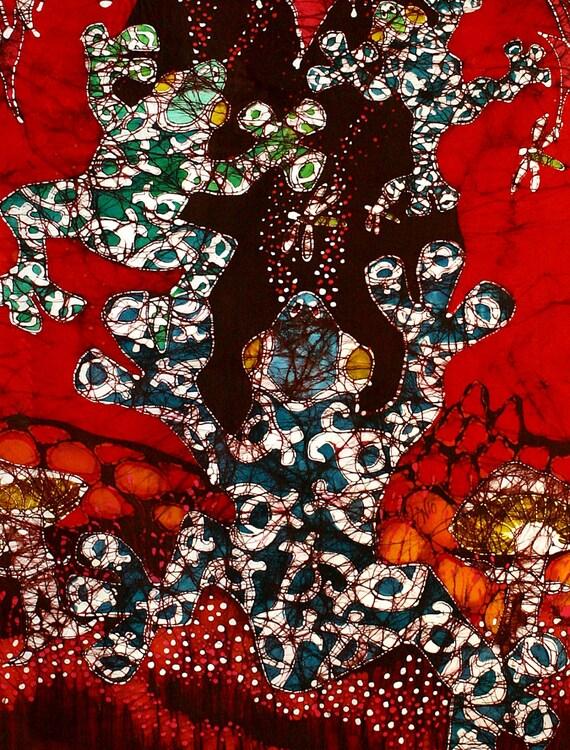 Magic Frogs Rising Detail - 2 - batik print from original