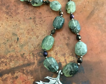 Green Moss Agate Necklace with Pewter Leaf Pendant