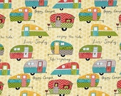 """SWEET TRAILERS Print Valance or Panel Cotton On the road again  Print 40"""" x 14""""  Lined or Unlined"""