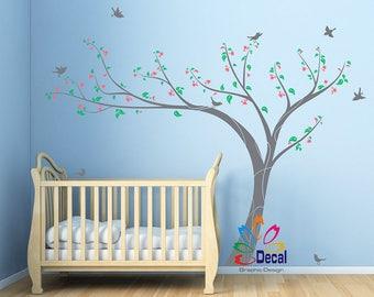 Removable wall decal wall sticker Nursery Tree Birds flowers DC0109