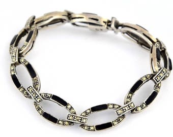 Vintage Marcasite Onyx Bracelet, Art Deco Sterling signed EAS