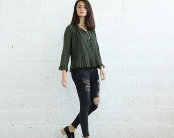 Halloween Sale Embroidered Lace Up Shirt, Olive.