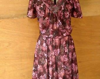 Vintage Brown Floral Dress Flouncy Plus Size 16 Wedding Pretty 1930s Style