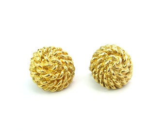 Dome Earrings. Monet Jewelry. Gold Tone Coiled Rope. Button Comfort Clips. Vintage 1980's Designer Signed Jewelry