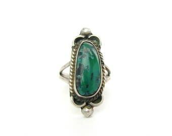 Navajo Turquoise Ring. Dark Green Brown Matrix Gemstone. Sterling Silver Rope, Crescents. Signed VC / VU. Vintage Native American Jewelry