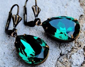 Emerald Green Earrings Swarovski Crystal Earrings Emerald Green Pear Tear Drop Dangle Earrings Duchess Mashugana