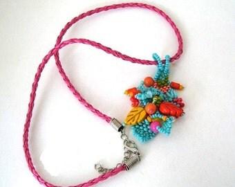 SALE Colorful necklace, Boho necklace, Beaded jewelry, Freeform necklace, Autumn gift, Handmade pendant,  Freeform beadwork