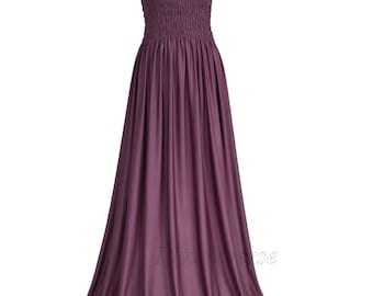 Evening Dress Formal Gown Gala Maxi Dress Bridesmaid Women Plus Size Dress Clothing Mauve Rose Dress Full Length Long Hawaiian Dress Summer