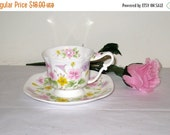 Floral Bone China Scalloped Teacup & Saucer By Marks and Rosenfeld / Lovely Capodimonte Style Rose On Handle / Great Gift