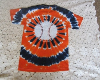 Tie dye shirt, Baseball in orange and navy!  Adult Small (classic unisex tee)