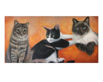 12x24 three cats custom pet portrait painting from photo hand painted on canvas