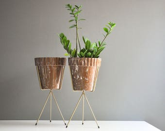 Pair of Mid-Century Tripod Plant Stands