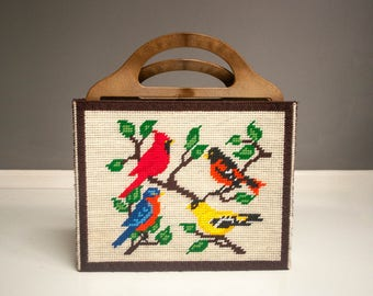 Vintage Crewel Embroidered Bird Tote or Carry-All