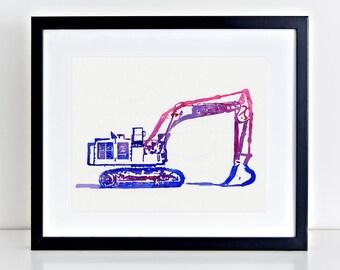 Excavator Art - Watercolor Truck Painting - Transportation Art Construction Trucks - Heavy Equipment - Man Cave Art - Excavator Painting