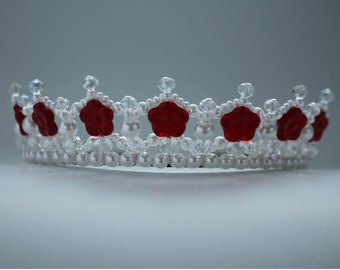 Pretty Red Flower, Crystal and Pearl Tiara, Princess Tiara, Flower Girl Tiara, Birthday Tiara