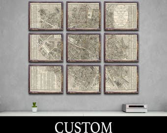 CUSTOM 6 and 9 Panel Vintage Print of Any Map on Matte Paper, Photo Paper, or Stretched Canvas