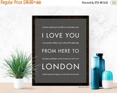 SALE London Print, Christmas Gift Idea for Her, United Kingdom Travel Poster Home Decor, I Love You From Here To LONDON, Dark Gray, Canvas P