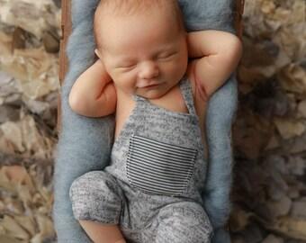 RTS-Newborn Photography Props-Newborn Light Gray Overalls-Baby Boy Overalls-Baby Boy Photo Prop-Photography Props-Baby Overalls-Boy Props