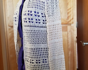 Crochet Sweater Cardigan in ecru thread size large