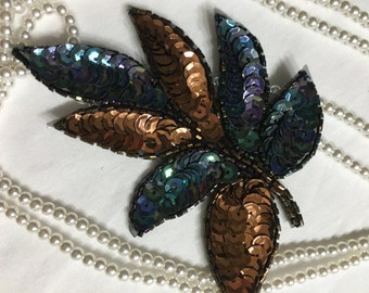 Beaded Sequins LEAF  Applique in MULTI COLOR