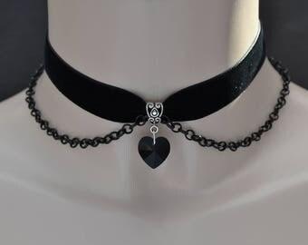 """BLACK Glass HEART Charm With Black Chain BLACK 16mm 5/8"""" Velvet Ribbon Choker Necklace rb... or choose another colour velvet or heart :)"""