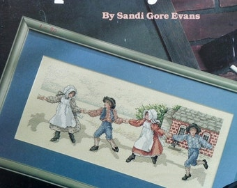 50%OFF Sandi Gore Evans SKIP To MY Lou Amish Children By Leisure Arts - Counted Cross Stitch Pattern Chart
