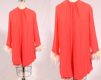 Vintage 1960s Coral Peach Mini Dress. Party cocktail evening shift dress. gogo dress. Feather trim. tunic party dress. Large XL XXL VOLUP