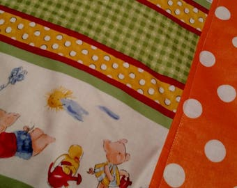 """Cute Little Pig Family with White/Orange Polka Dot Cuff ~ Standard Size Pillow Case ~ hidden seams ~ 20"""" by 30"""""""