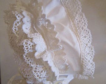 Ruffled and Embroidered Bonnet