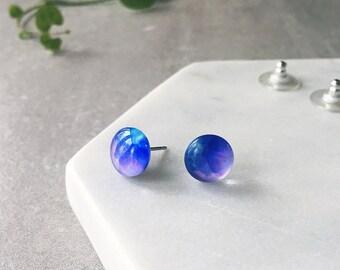 Aqua blue and purple watercolour earrings - small Glass stud watercolor earrings - Hypoallergenic post earrings