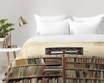 Dreamy Venice bookstore comforter quilt duvet, unique wedding engagement present, book library literature lover travel wanderlust home decor