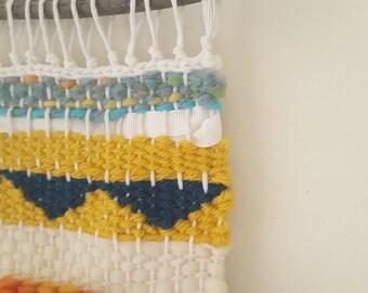 Aztec - hand woven loom weaving wall hanging