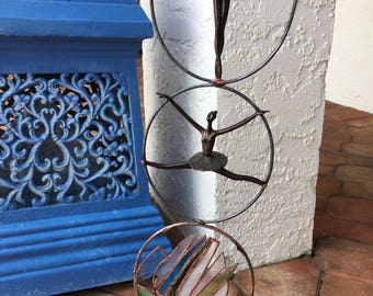 3 Ring Stained Glass Ballerinas Sculpture