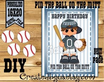 Pin the Baseball on the Mitt PRINTABLE party game Baseball Birthday Party Game ideas Pin the Tail DIY 16x20 Printable game poster Download