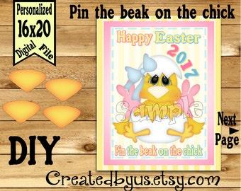 Pin the beak on the chick Easter game PRINTABLE party game Childrens Game Easter game ideas Pin theTail DIY Printable game poster Download