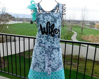 Feminine personalized wedding or bridal shower gift, bride to be. gray damask, turquoise blue full apron, flirty WIFEY applique, reversible