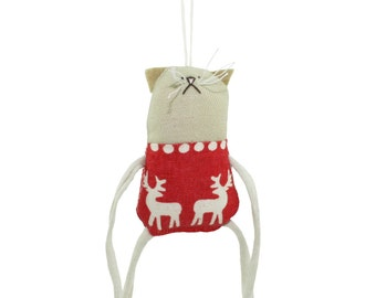 Tiny Cat Ornament, Cat Wall Art, Plush Kitty Wall Decoration, Tiny Plush Cat Hanging Ornament, Kitty Hanging Decoration, Gift for Cat Lover