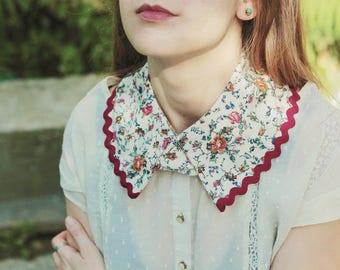 Handmade Floral Collar - Peter Pan collar, detachable rounded collar, vintage women necklace, female collar, collar necklace