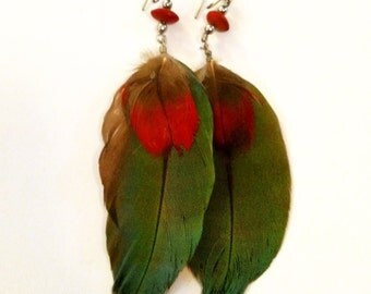 Vintage 1970's Multi-Color Feather Earrings from India