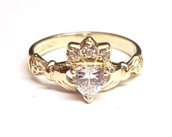 Claddagh Ring with Birth Stone in 9ct gold