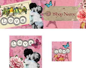 Kissing Kids Etsy Premade Cover Photo Shop Banner Shop Icon Avatar Set Shop Branding