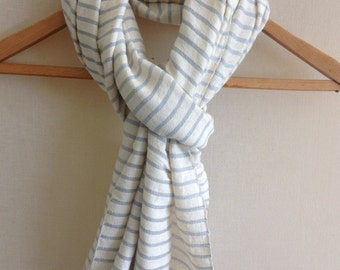 French blue & Ivory natural cotton striped scarf for Men and women- handowen Ethiopian scarf- wool scarf- cotton scarf- striped scarves
