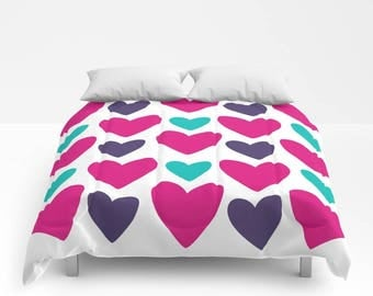 HEARTS Duvet Cover or Comforter, White Purple Magenta Turquoise Blue Modern Bedding, Love, Marriage, Bedspread Twin, Full, Bright, Colorful