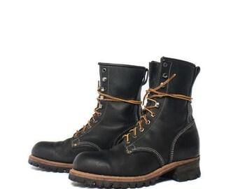 SALE 9 E | Men's Steel Toe Logger Boots in Black Leather