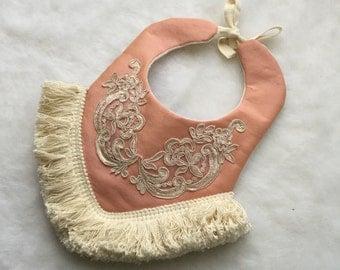 Amelia: Boho Baby Bib- Couture Silk Fringe Vintage Baby Drool Bib
