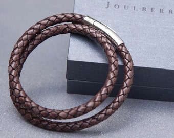 Mocha Braided Double Leather Wrap Bracelet